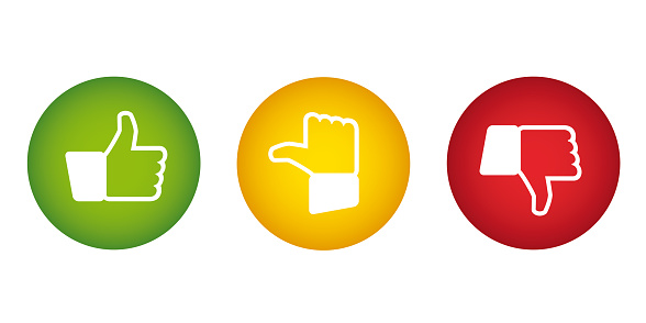 Feedback vector buttons with thumbs up and down icons - rating concept
