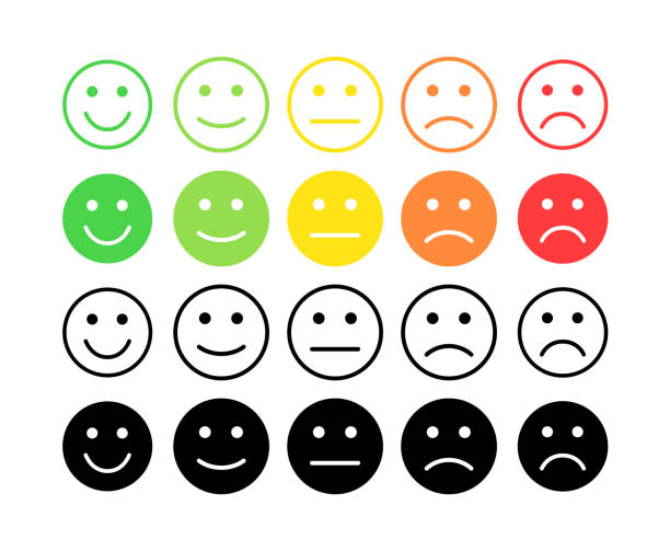 illustrazioni stock, clip art, cartoni animati e icone di tendenza di feedback vector concept. rank, level of satisfaction rating. excellent, good, normal, bad awful. feedback in form of emotions, smileys, emoji. user experience review of consumer. - soddisfazione
