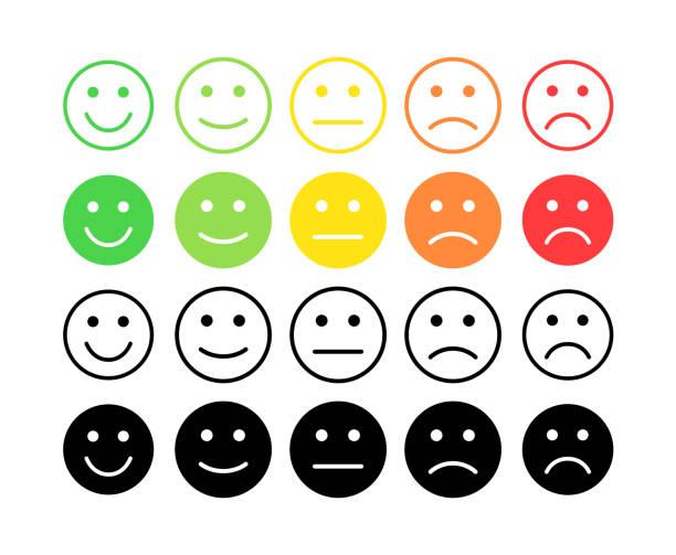 illustrations, cliparts, dessins animés et icônes de notion de vecteur de rétroaction. grade, niveau de taux de satisfaction. excellent, bon, mauvais normal, terribles. retour d'information sous forme d'émotions, les smileys, les emoji. expérience utilisateur examen du consommateur. - relation client