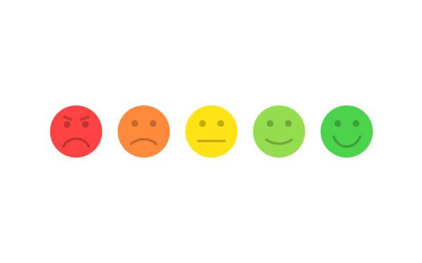 feedback-vektor-konzept. rang, grad der kundenzufriedenheit. ausgezeichnet, gut, normal, schlecht, schrecklich. feedback in form von emotionen, smileys, emoji. benutzererfahrung. überprüfung der verbraucher. - smileys zum kopieren stock-grafiken, -clipart, -cartoons und -symbole
