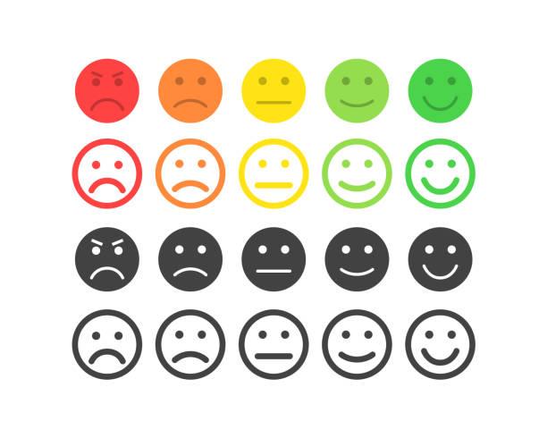 feedback-vektor-konzept. rang, grad der kundenzufriedenheit. ausgezeichnet, gut, normal, schlecht, schrecklich. feedback in form von emotionen, smileys, emoji. benutzererfahrung. überprüfung der verbraucher. - feedback stock-grafiken, -clipart, -cartoons und -symbole