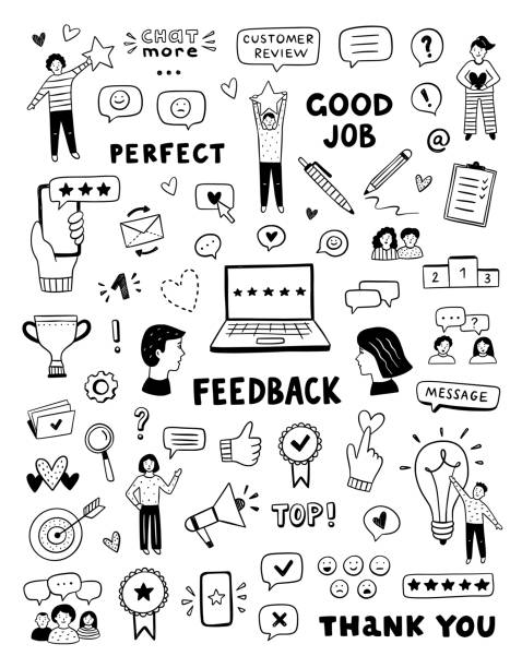 Feedback vector icons and symbols. Hand drawn customer care service concept. Cute doodles for business, review and advices Feedback vector icons and symbols. Hand drawn customer care service concept. Cute doodles for business, review and advices business drawings stock illustrations