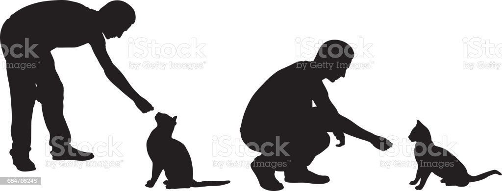 feeding cats vector art illustration