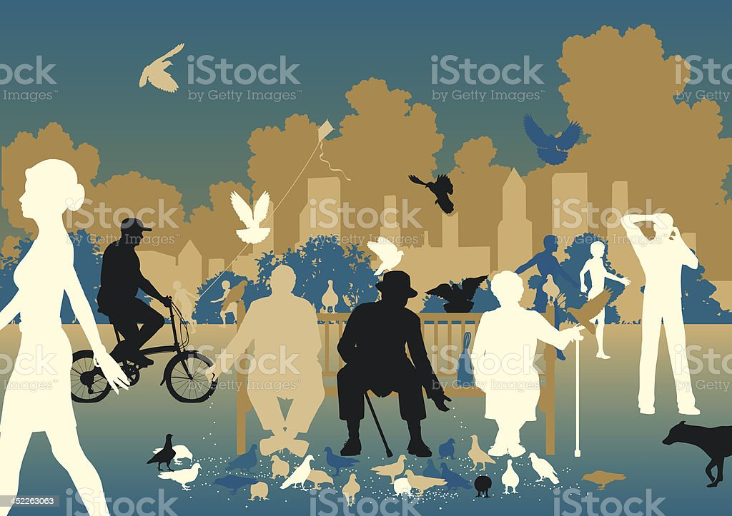 Feeding pigeons vector art illustration