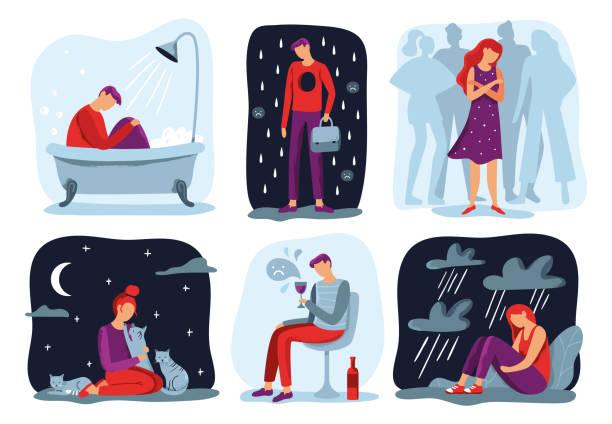 stockillustraties, clipart, cartoons en iconen met voel eenzaamheid. eenzaam gevoel, trieste depressieve persoon en sociale isolatie vector illustratie set - geestelijk welzijn