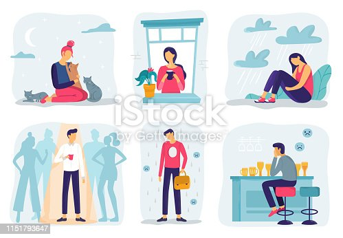 Feel lonely. Loneliness feelings, feeling isolated and fear of being alone. Frustration teenager, abuse guilty expression or bullying upset depression character. Mental health vector illustration set