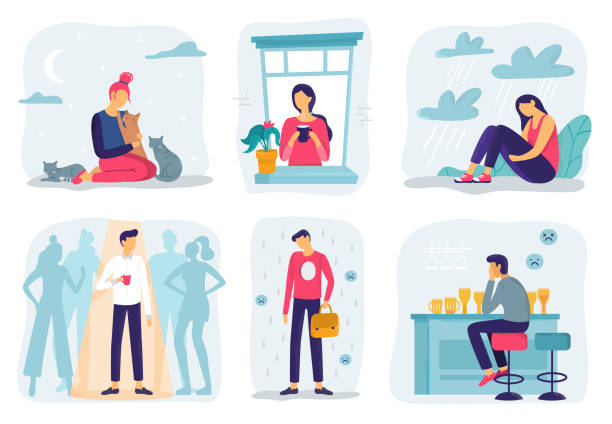 feel lonely. loneliness feelings, feeling isolated and fear of being alone vector illustration set - уединение stock illustrations