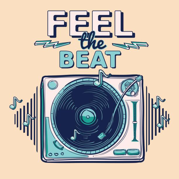 bildbanksillustrationer, clip art samt tecknat material och ikoner med känn rytmen - funky dekorativa musik design med skivspelare - hip hop poster