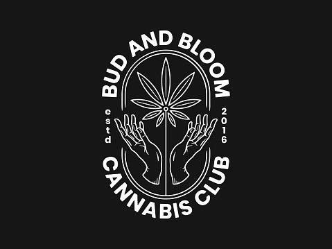 Feel the bloom cannabis leaf between hands vector illustration