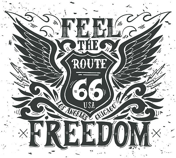 Feel the freedom. Route 66. Hand drawn vintage illustration vector art illustration