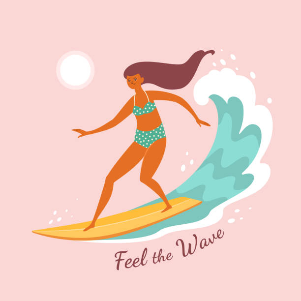 Feel the wave. Vector illustration of a pretty young woman surfing the wave in trendy flat style. Isolated on light pink background. surf stock illustrations