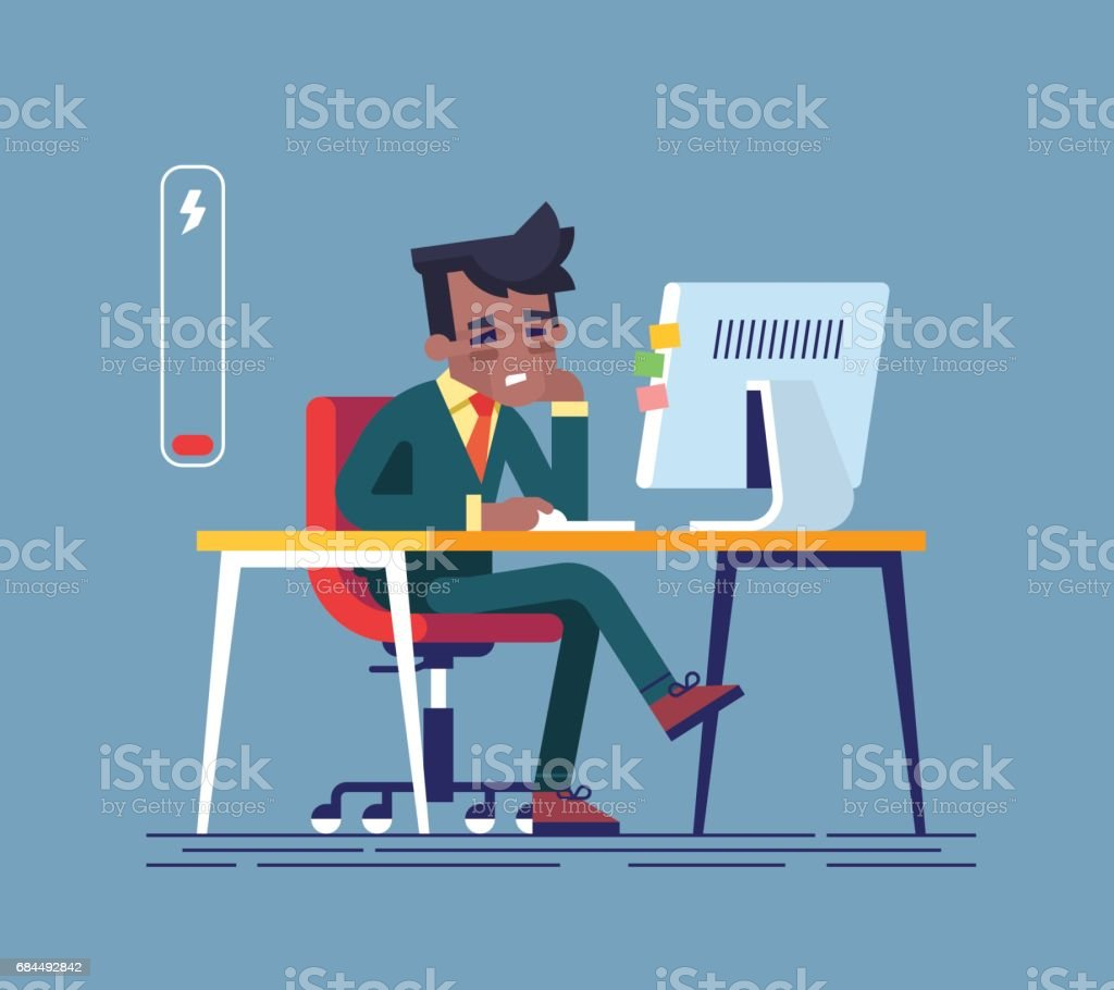 Feeling exhausted. Tired african american man sitting at his working place with computer in office. Business concept.  Modern creative vector illustration. vector art illustration