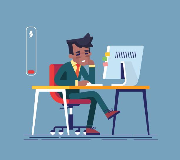 illustrazioni stock, clip art, cartoni animati e icone di tendenza di feeling exhausted. tired african american man sitting at his working place with computer in office. business concept.  modern creative vector illustration. - uomo stanco