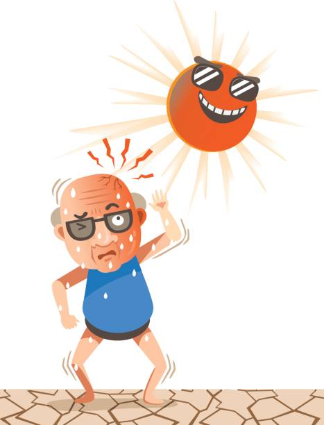 feeling hot - old man sunglasses stock illustrations, clip art, cartoons, & icons
