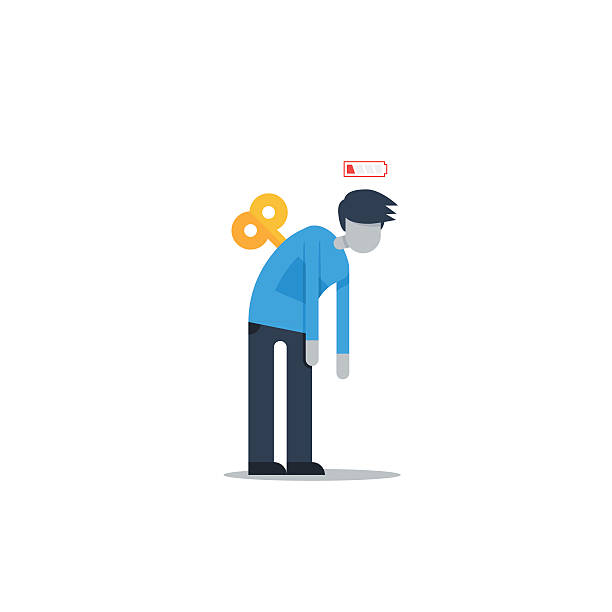 Feeling low energy Flat design illustration exhaustion stock illustrations