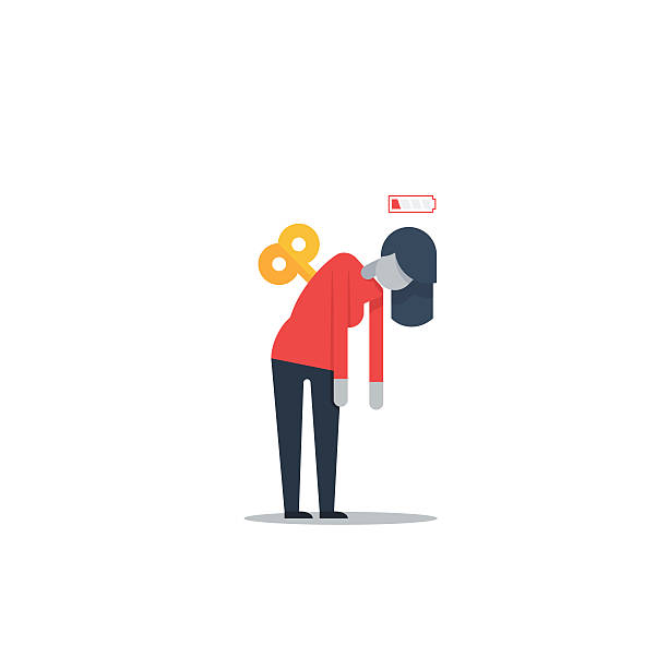 Feeling low energy Flat design illustration overworked stock illustrations