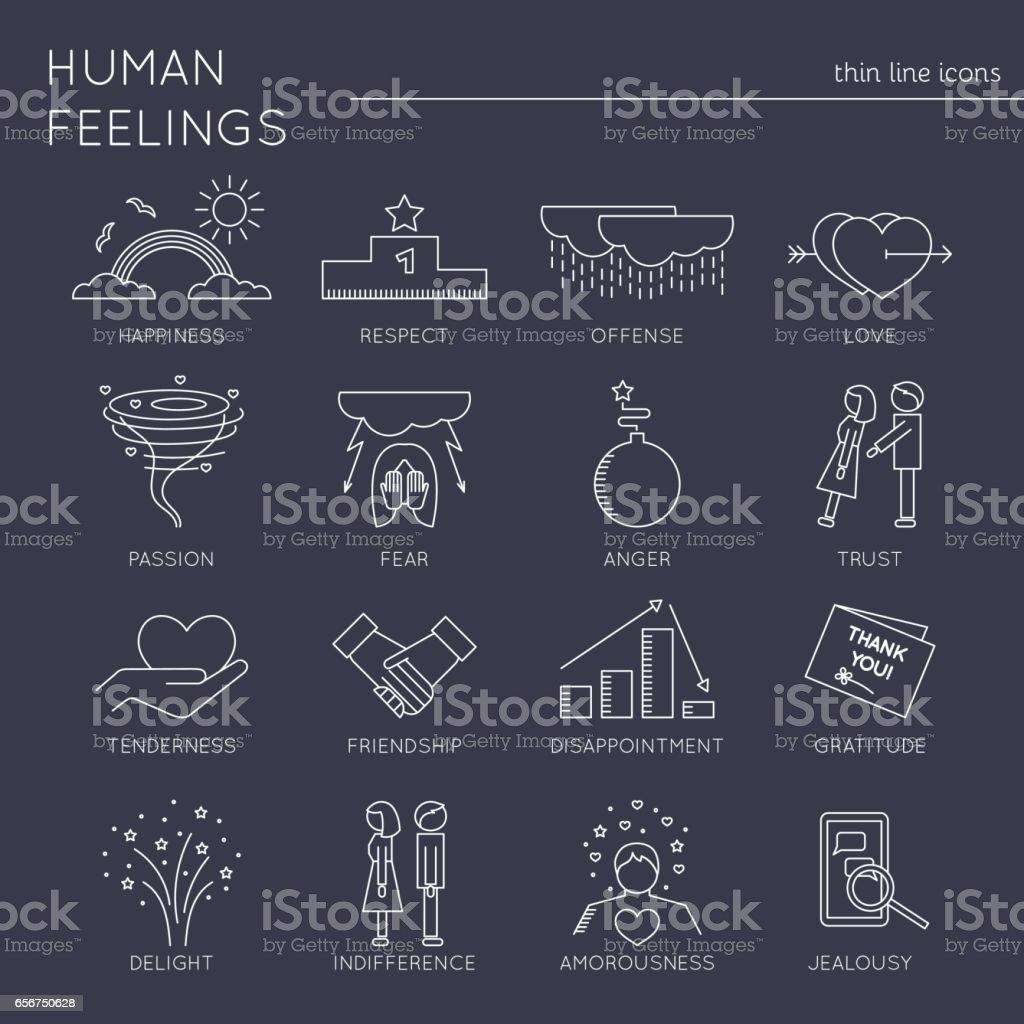 Feelings and emotions set vector art illustration
