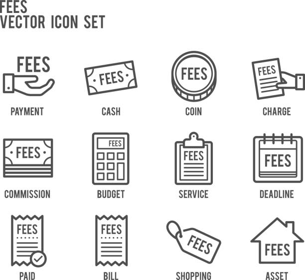 fees payment line vector icon set fees payment business line icon set fee stock illustrations