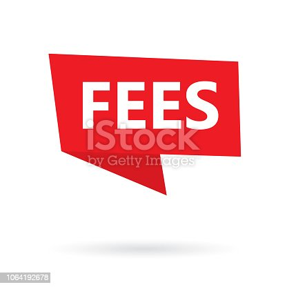 fees word on a sticker- vector illustration