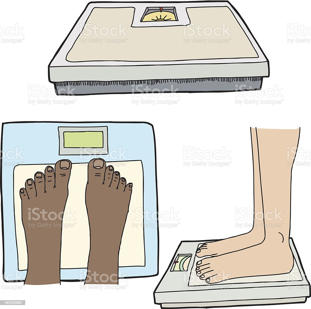 Feet and Bathroom Scales Feet and weight scales on isolated white background African Ethnicity stock vector