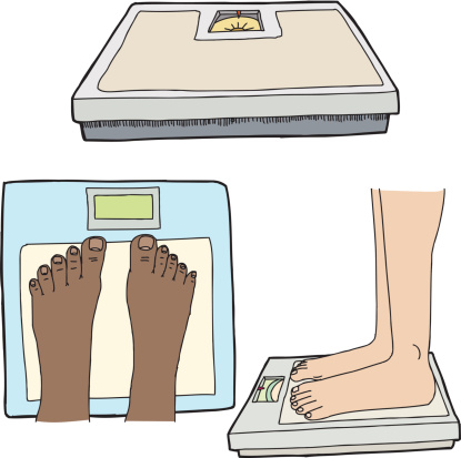 Feet And Bathroom Scales Stock Illustration - Download Image Now