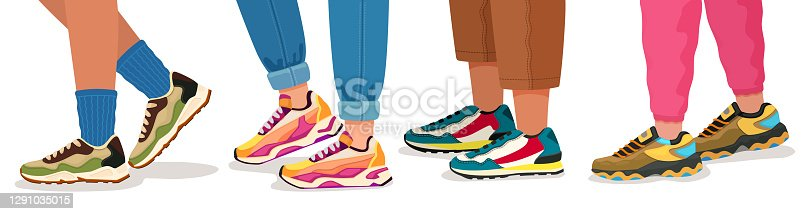 istock Feet in sneakers. Female and male walking legs in sport shoes with socks, pants and jeans. Trendy fashion fitness footwear vector concept 1291035015