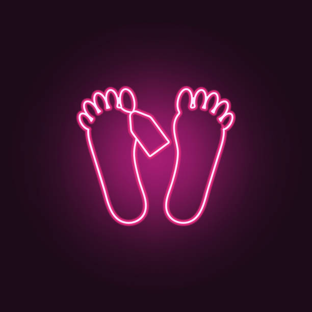 feet of corpse icon. elements of crime investigation in neon style icons. simple icon for websites, web design, mobile app, info graphics - autopsy stock illustrations, clip art, cartoons, & icons