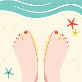 Feet on a sandy beach. Related collections: