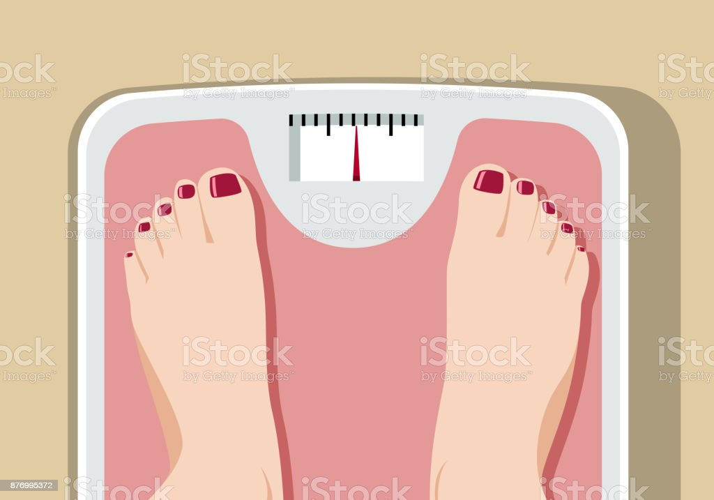 Feet on bathroom scale vector art illustration