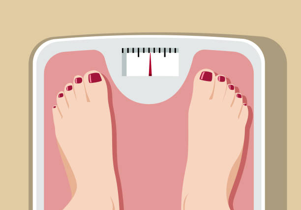 feet on bathroom scale - waga opis fizyczny stock illustrations