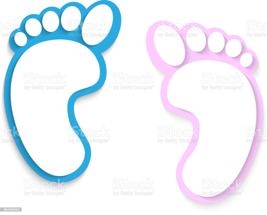 Feet, prints foots on a white background vector art illustration