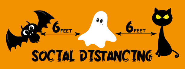 6 Feet Social distancing - COVID-19 information vector graphic, for Halloween. 6 Feet Social distancing - COVID-19 information vector graphic, for Halloween. Black bat, ghost and cute cat illustration. halloween covid stock illustrations