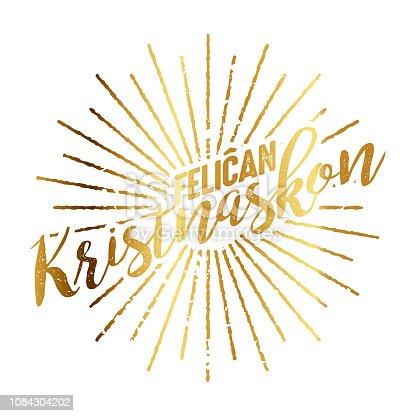istock Feliĉan Kristnaskon Esperanto Gold Foil Sunburst 1084304202