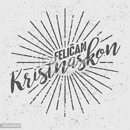 istock Feliĉan Kristnaskon Esperanto ('Merry Christmas') Vintage Screen Print 540504320