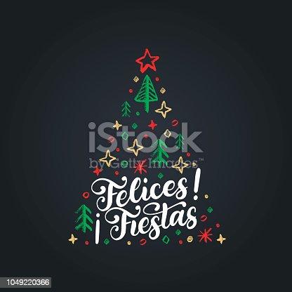 istock Felices Fiestas, handwritten phrase, translated from Spanish Happy Holidays. Vector Christmas spruce illustration. 1049220366