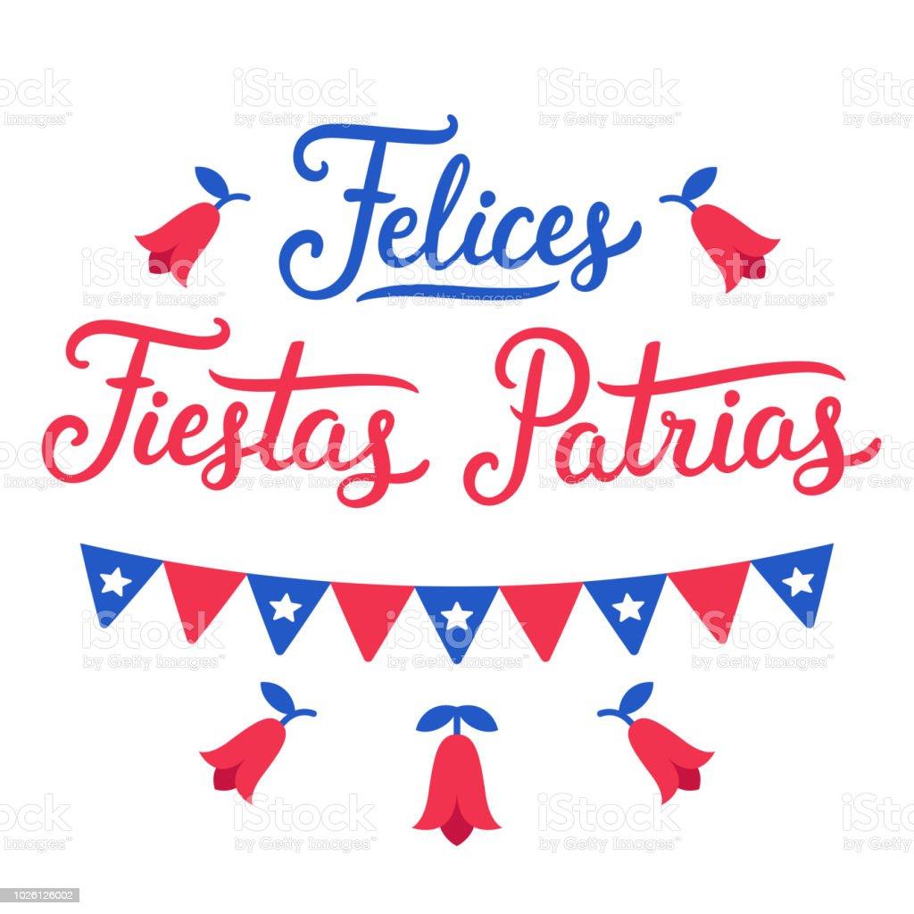 Felices Fiestas Patrias Chile - ilustración de arte vectorial