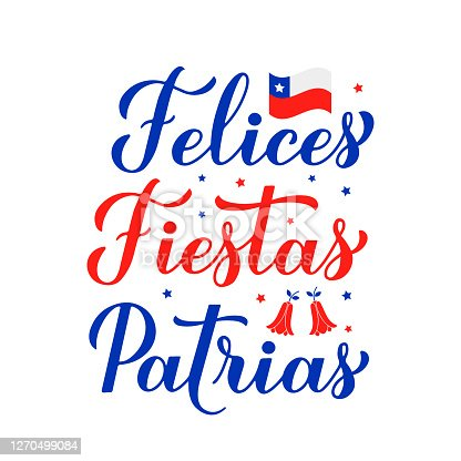istock Felices Fiestas Patrias - Happy National Holidays hand lettering in Spanish.  Chile Independence Day celebrated on September 18. Vector template for typography poster, banner, greeting card, flyer 1270499084