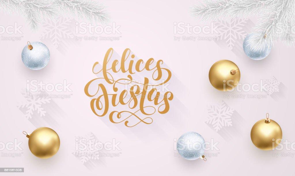 Felices Fiestas Spanish Happy Holidays Golden Decoration Hand Drawn ...