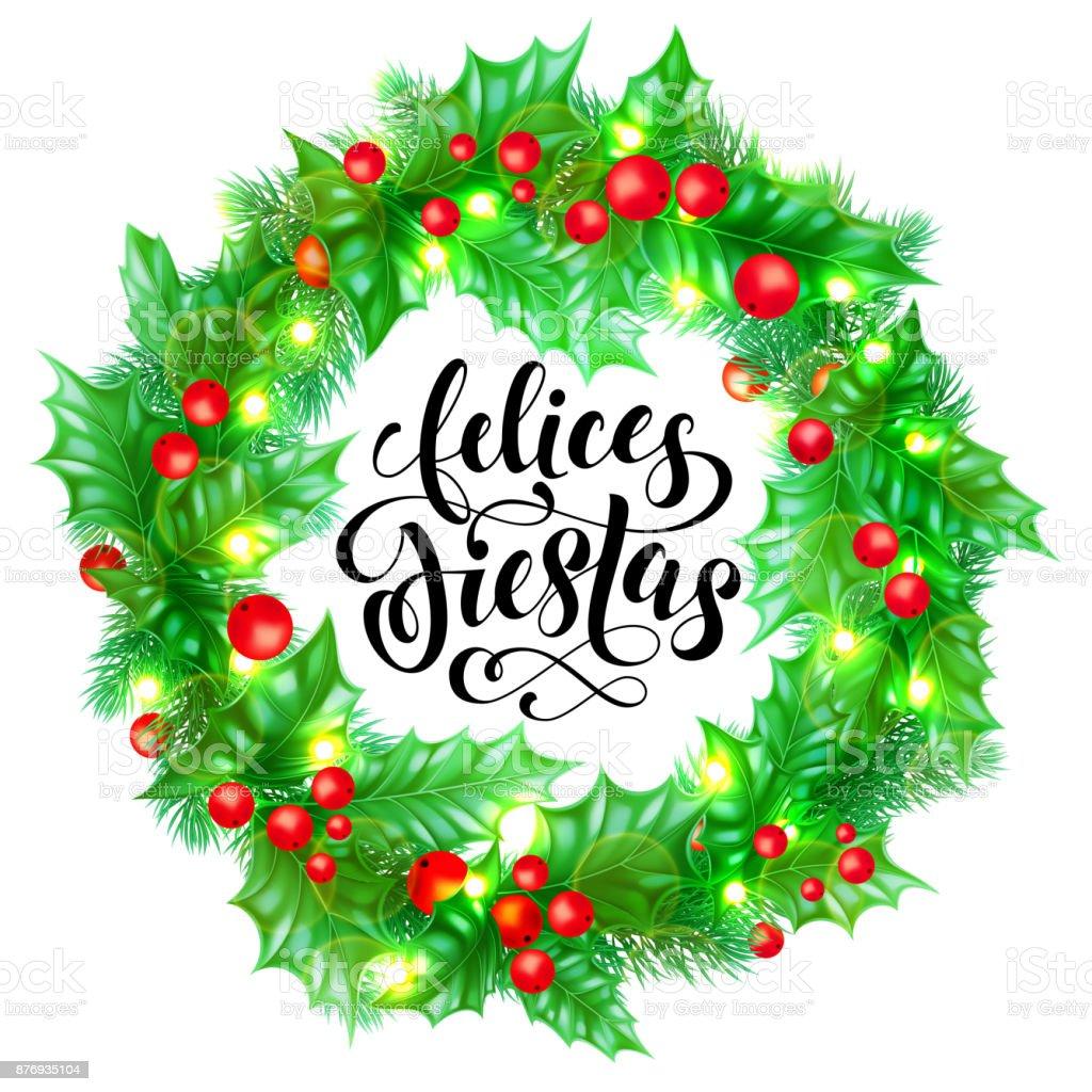 Felices Fiestas Español Feliz Navidad Mano Dibujado Caligrafía Y ...
