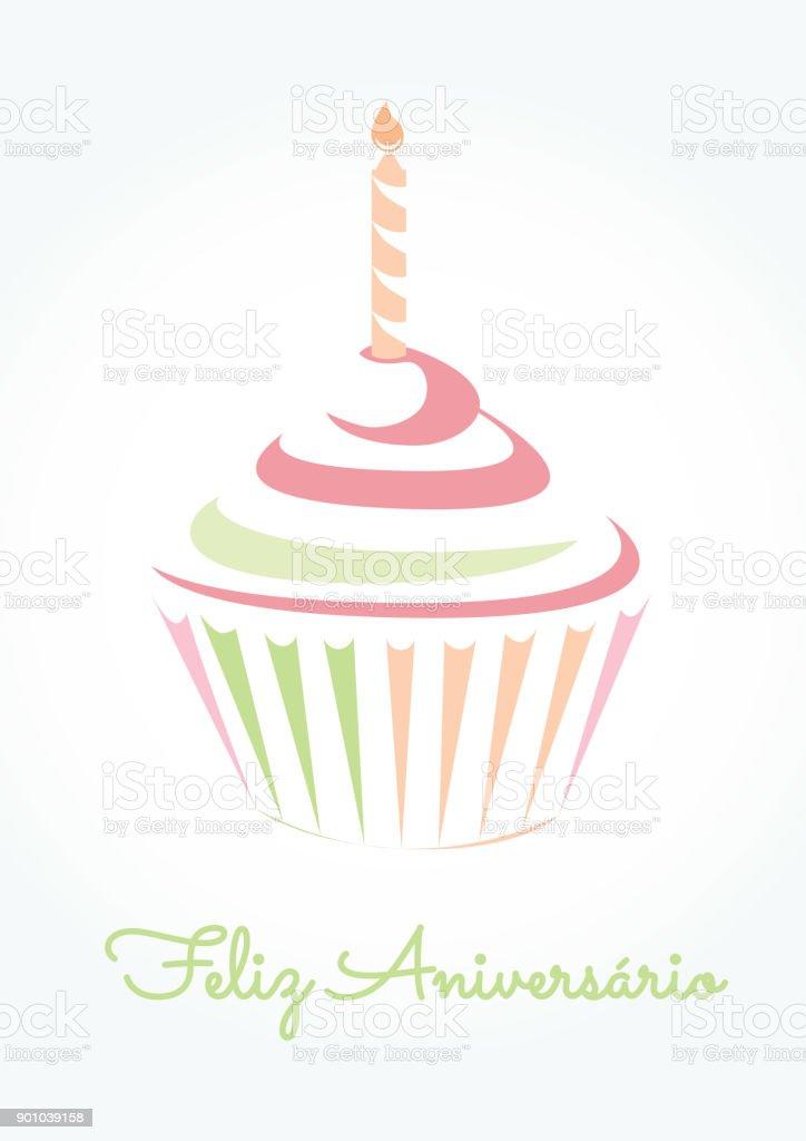 Feliz Aniverasario ist Happy Birthday in portugiesischer Sprache – Vektorgrafik