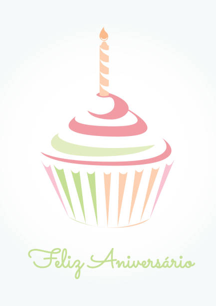 feliz aniverasario is happy birthday in portuguese language - cupcake stock illustrations, clip art, cartoons, & icons