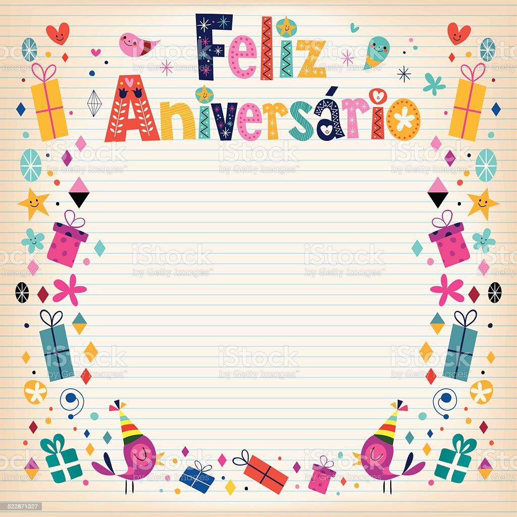 Feliz Aniversario Brazilian Portuguese Happy Birthday Stock Illustration Download Image Now Istock