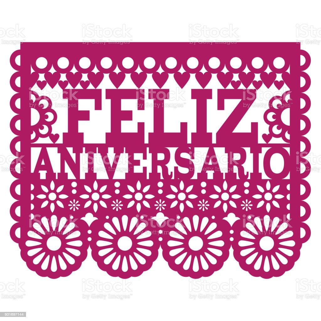 Feliz Aniversario Papel Picado Vector Design Happy Anniversary