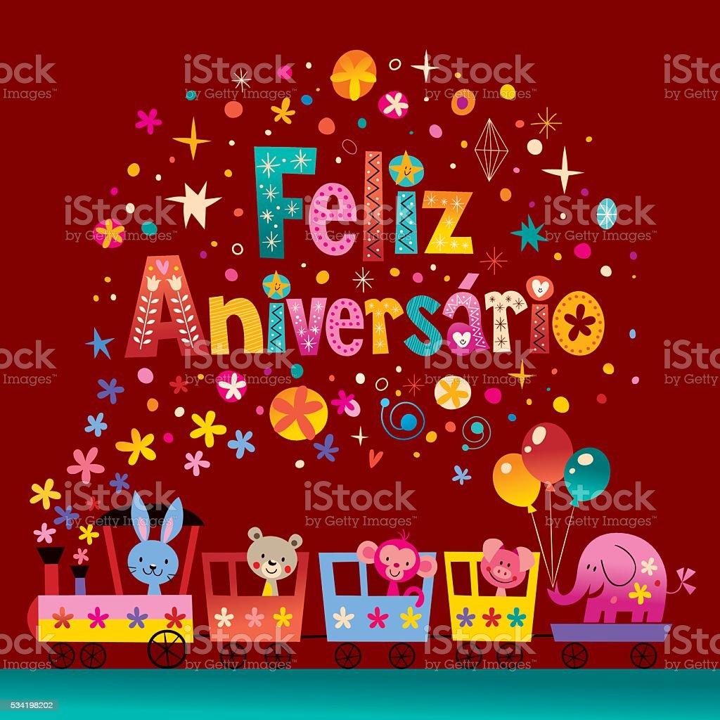 Feliz Aniversario Portuguese Happy Birthday Card stock vector art – Portuguese Birthday Cards