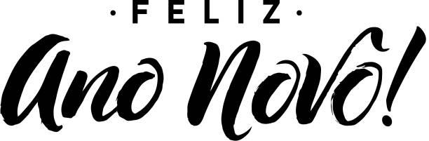 Feliz Ano Novo. Happy New Year Calligraphy in Portuguese. Greeting Feliz Ano Novo. Happy New Year Calligraphy in Portuguese. Greeting Card Black Typography on White Background. Vector Illustration Hand Drawn Lettering. ano novo stock illustrations