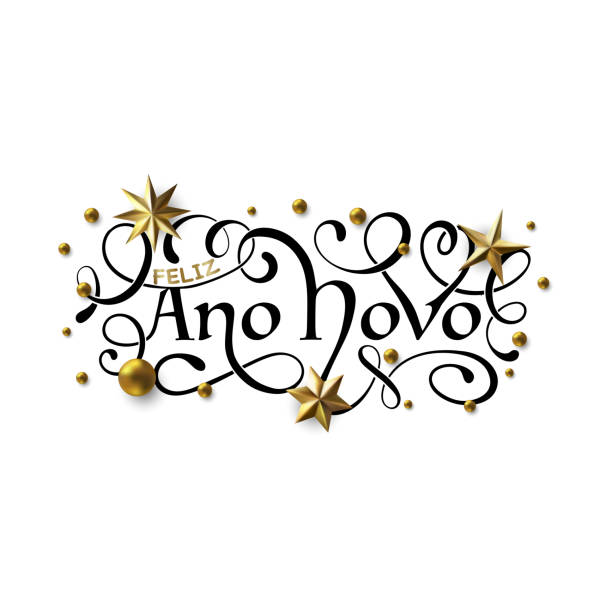 Feliz Ano Novo - Happy New Year in Brazilian Portuguese greeting card with typographic design Lettering Feliz Ano Novo - Happy New Year in Brazilian Portuguese greeting card with typographic design Lettering. Calligraphic Inscription Decorated with Golden Stars and Beads. ano novo stock illustrations