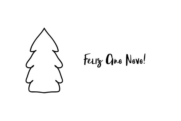 Feliz ano novo Happy new year Portuguese handwritten text with Christmas tree shape. Feliz ano novo Happy new year Portuguese handwritten text with Christmas tree shape. ano novo stock illustrations