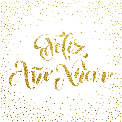 Feliz Ano Nuevo gold glitter Spanish Happy New Year