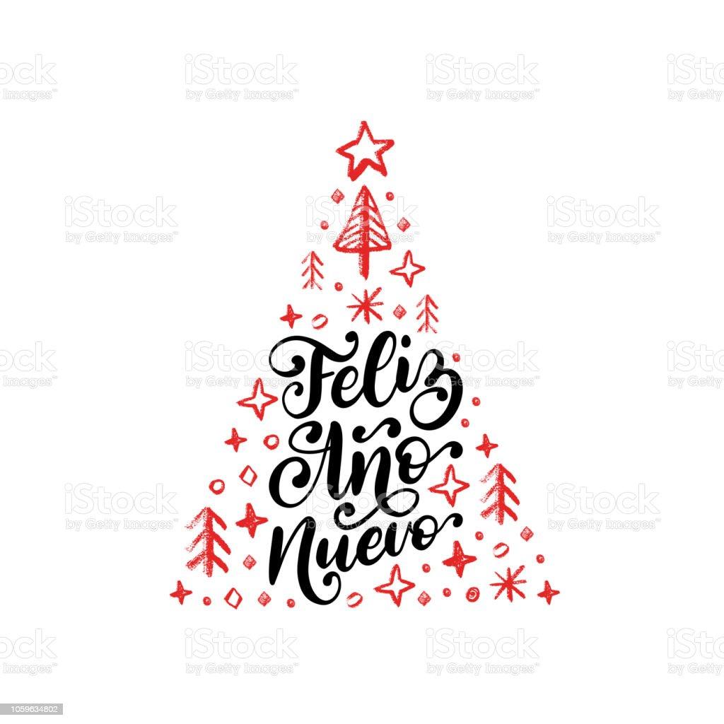 Feliz Ano Nuevo Handwritten Phrase Translated From Spanish Happy New ...