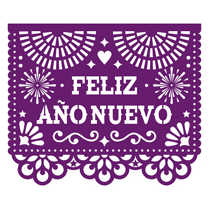 Feliz Ano Nuevo - Happy New Year in spanish Papel Picado vector design with, Mexican paper cut out style purple greeting card on white